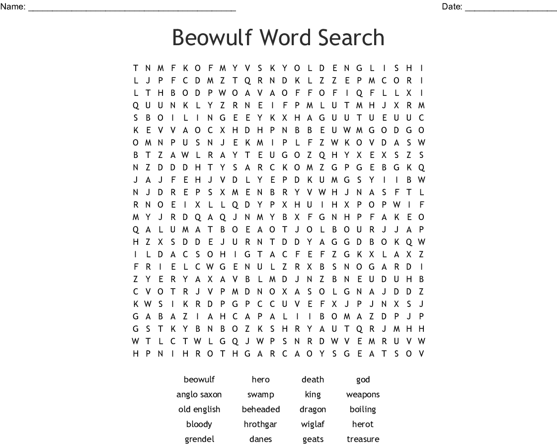 Beowulf Word Search - Wordmint - Printable Beowulf Crossword Puzzle