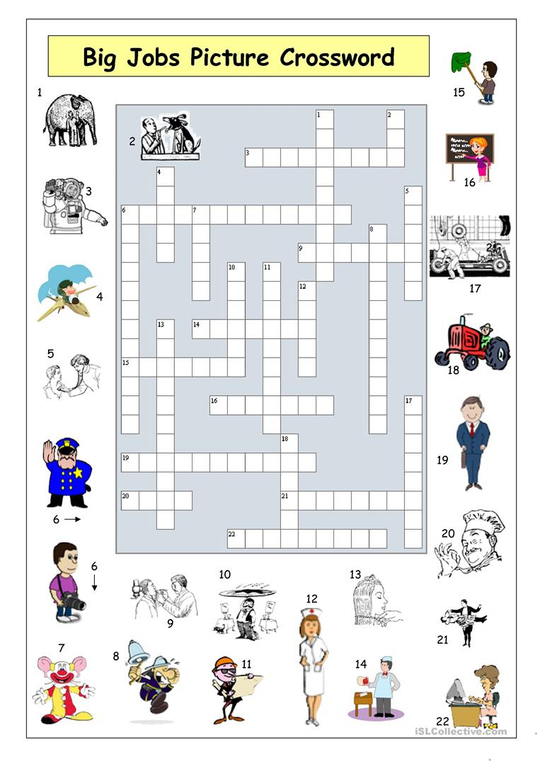 Big Jobs Picture Crossword Worksheet - Free Esl Printable Worksheets - Printable Crossword Esl