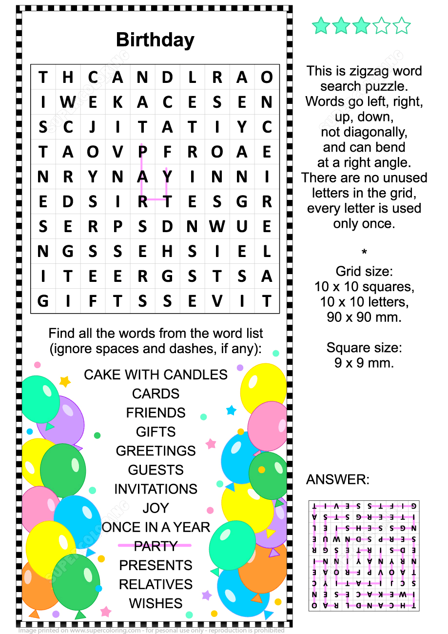 Birthday Zigzag Word Search Puzzle | Free Printable Puzzle Games - Printable Birthday Puzzle