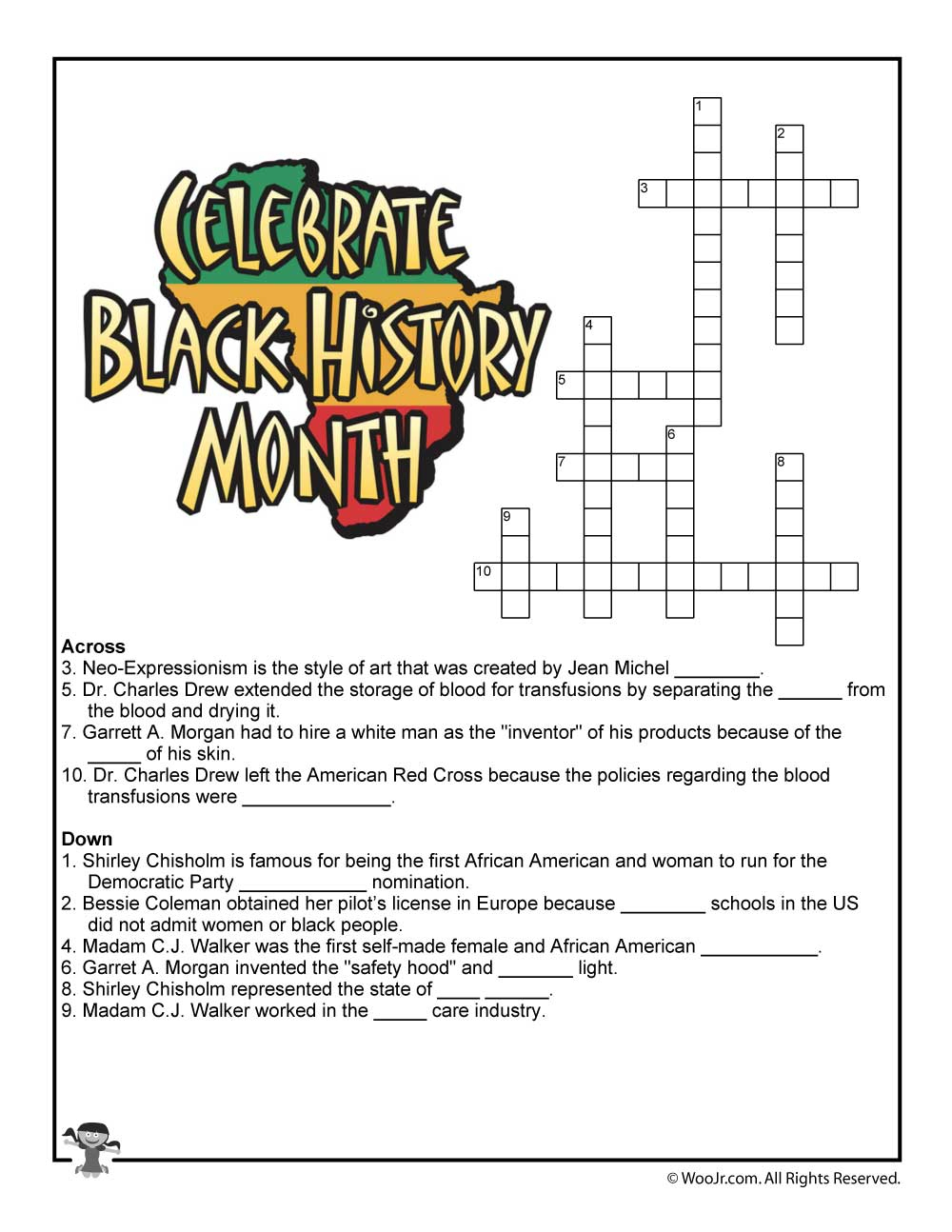 Black History Month Crossword Puzzle Worksheet | Woo! Jr. Kids - History Crossword Puzzles Printable