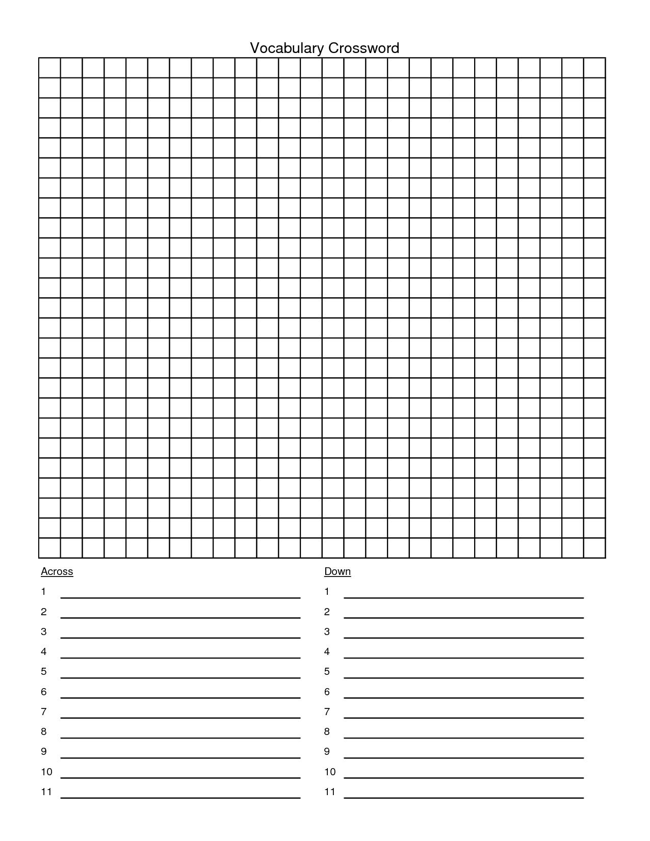 Blank Crossword Template. Blank Crossword Puzzle Clues Template - Printable Blank Crossword Grid