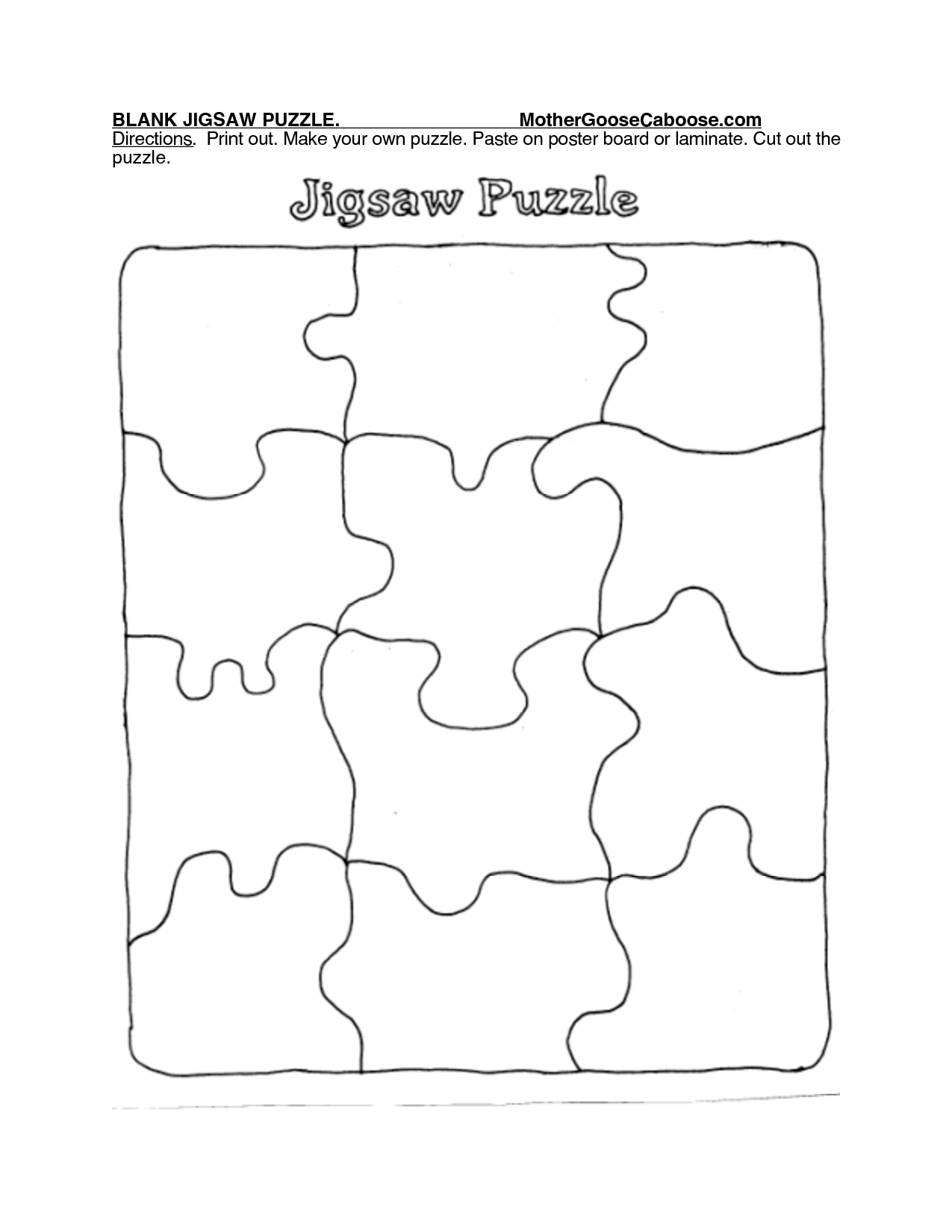 Blank Jigsaw Puzzle. Mothergoosecaboose Directions. Print Out - Print Jigsaw Puzzle