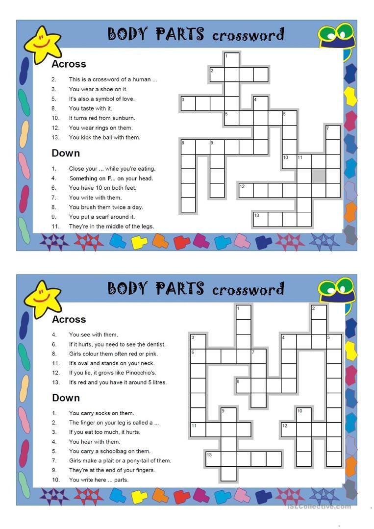 Body Parts Crosswords Worksheet - Free Esl Printable Worksheets Made - Free Printable Crossword Puzzles Body Parts
