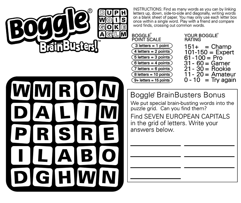Boggle Word Game Free | K5 Worksheets | Educative Puzzle For Kids - Printable Boggle Puzzles
