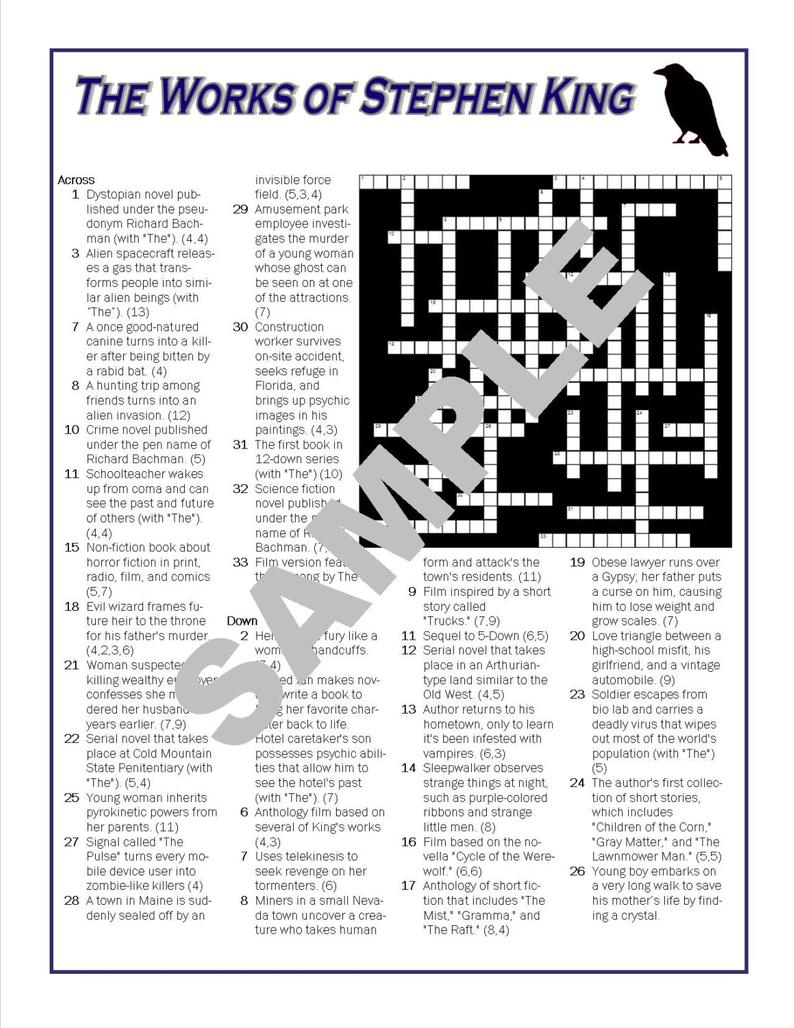 Book Lover's Printable Crossword Puzzlepersonalize To | Etsy - Printable Crossword Book