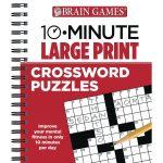 Brain Games 10 Minute Large Print Crossword Puzzles Book   Large Print Crossword Puzzle Books For Seniors