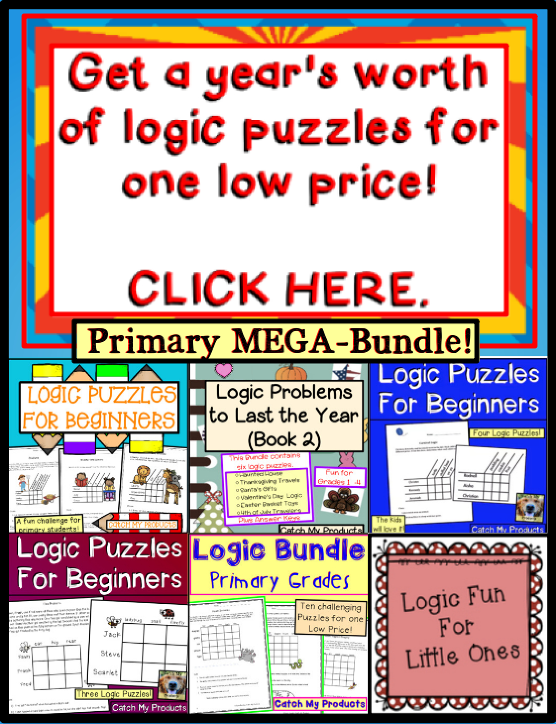 Brain Teasers Logic Puzzles : Primary Mega-Bundle Gifted And - Printable Puzzles For Gifted Students