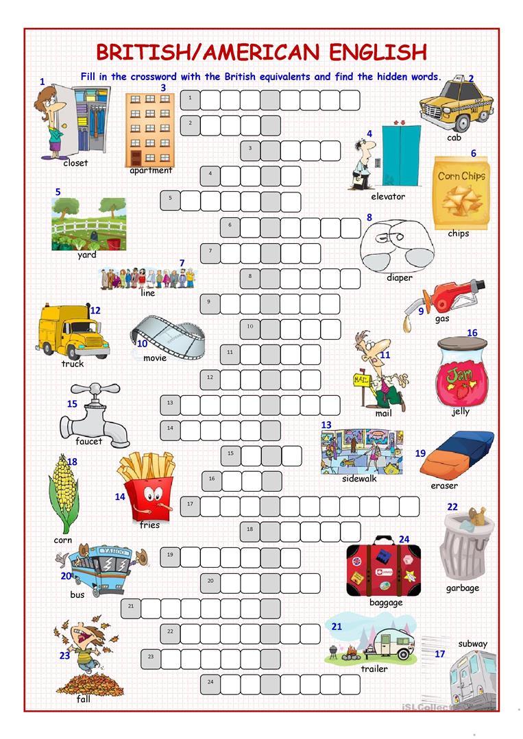 British/american English Crossword Puzzle Worksheet - Free Esl - Printable Crossword Puzzles Spanish