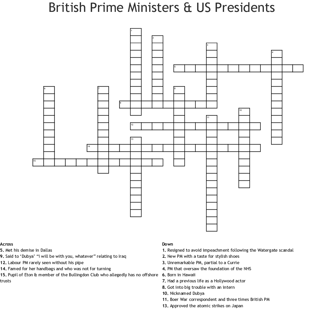 British Prime Ministers & Us Presidents Crossword - Wordmint - Us Presidents Crossword Puzzle Printable