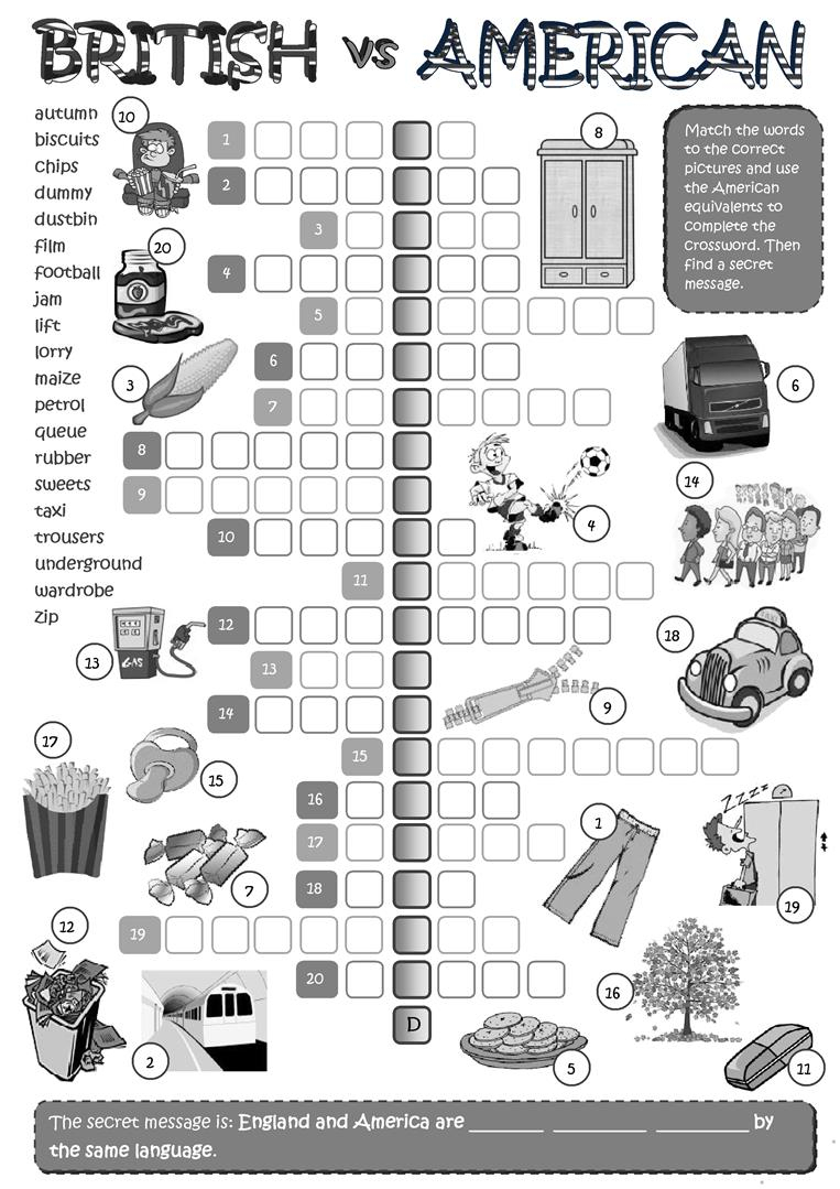 British Vs American English - Crossword Worksheet - Free Esl - Printable Crossword Uk