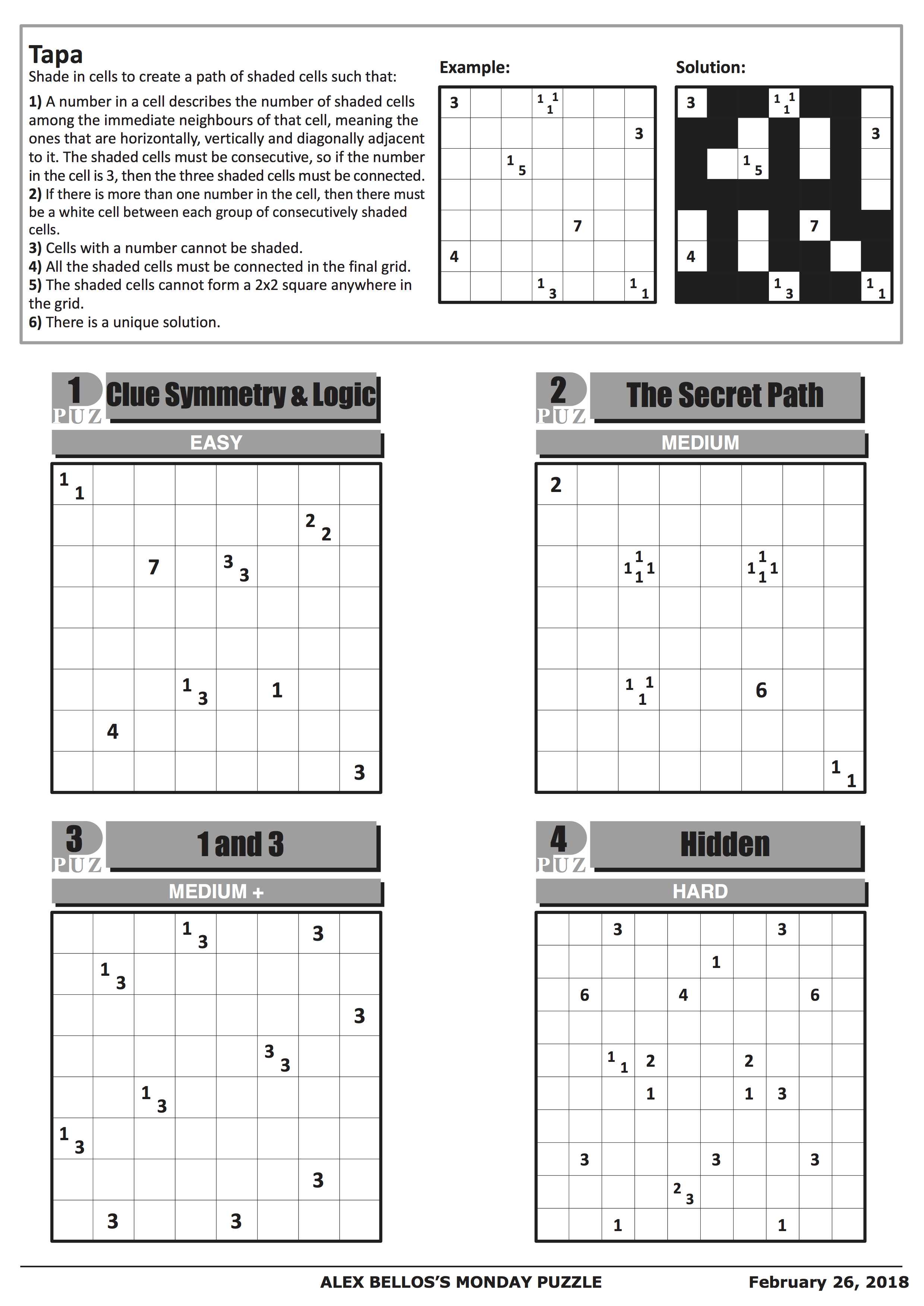 Can You Solve It? Tapa, The Puzzle Of Champions | Science | The Guardian - Printable Japanese Puzzles