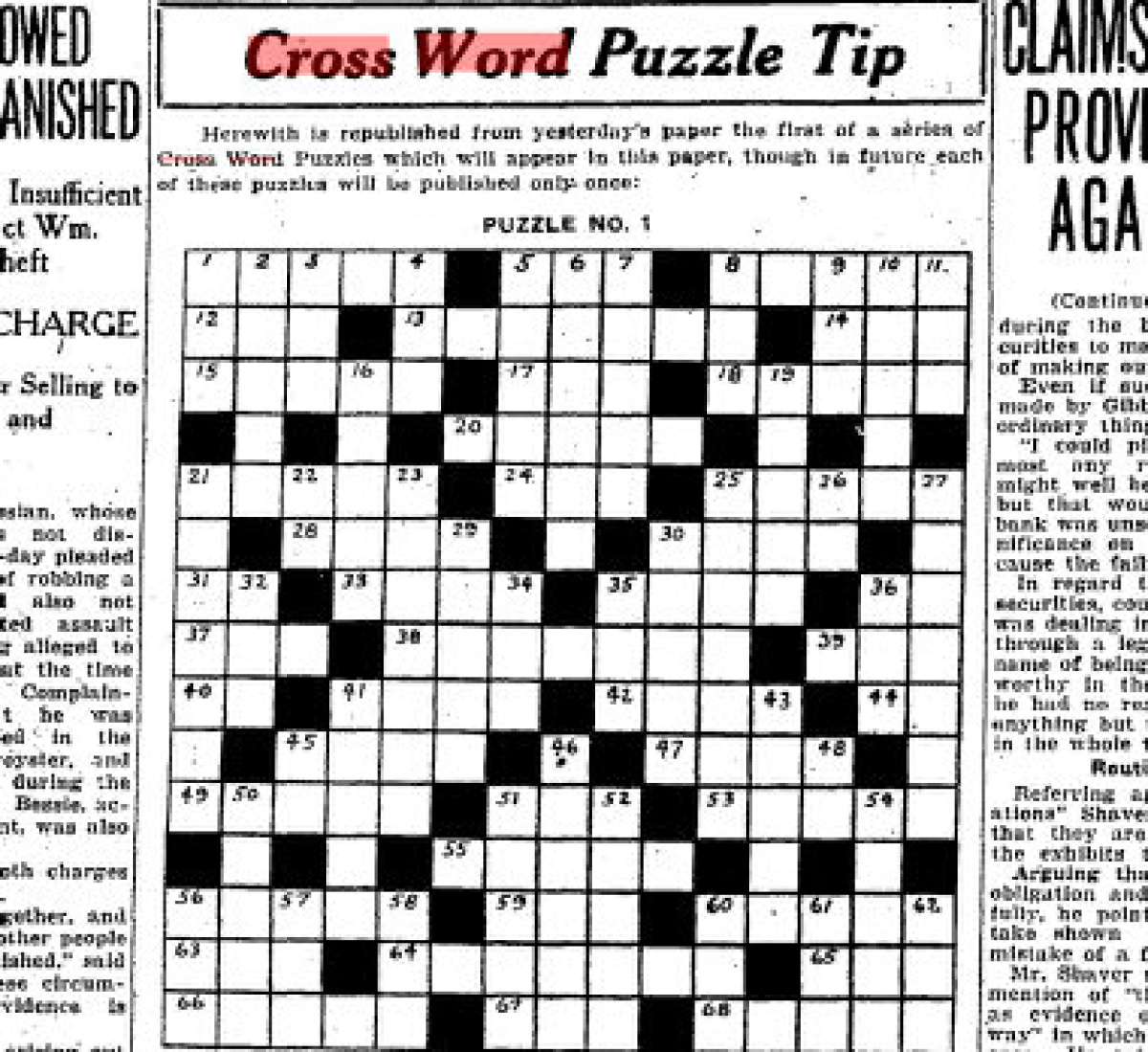 Can You Solve The Star's First Ever Crossword Puzzle From 1924 - Printable Crossword Toronto Star