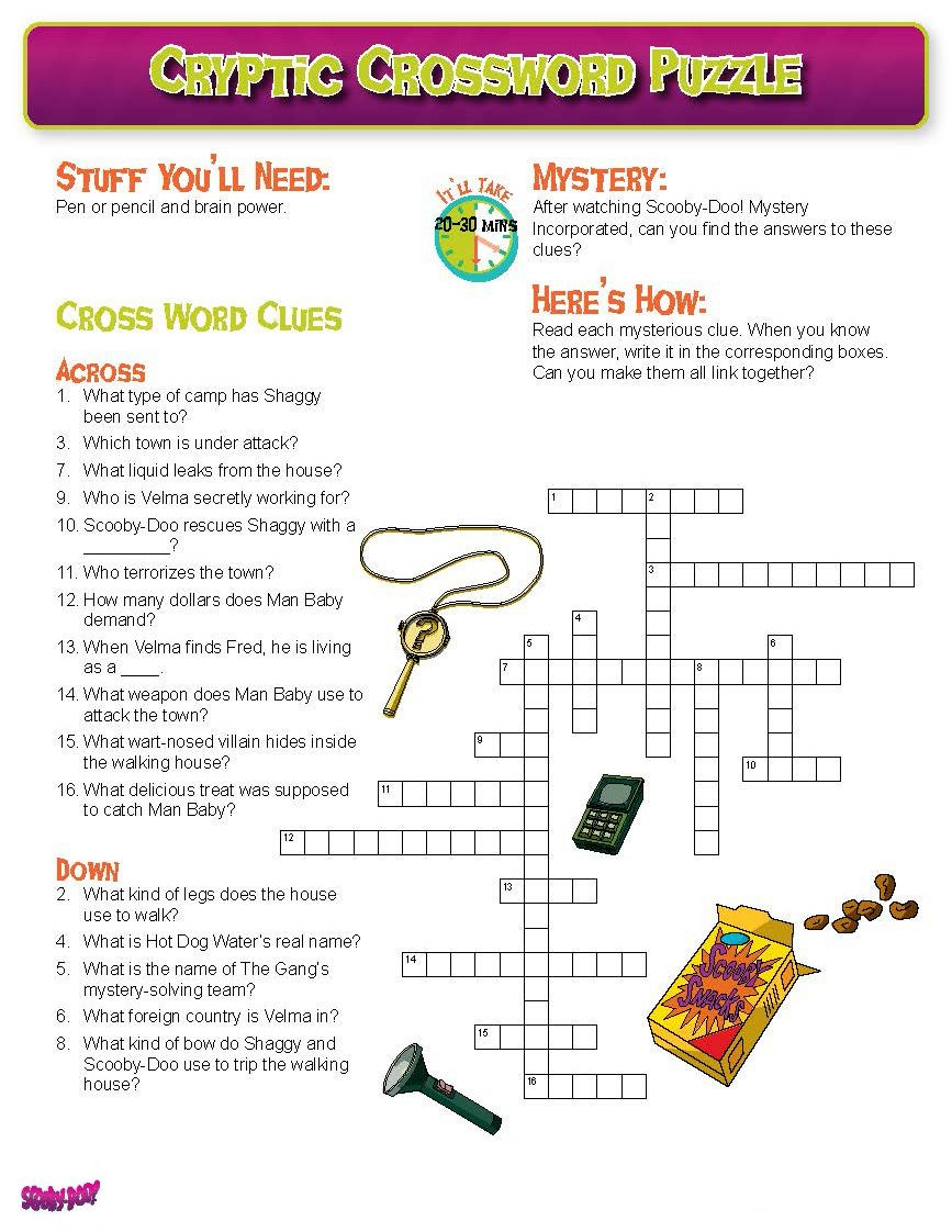Can You Solve This Scooby Crossword Puzzle? Print Or Repin So You - Printable Mystery Puzzles