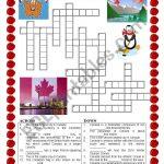 Canada   Crossword   Esl Worksheetildibildi   Printable Canadian Crossword