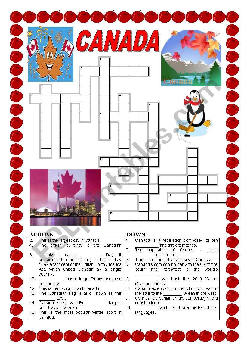 Canada - Crossword - Esl Worksheetildibildi - Printable Canadian Crossword