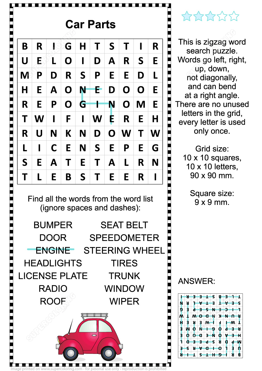 Car Parts Word Search Puzzle | Free Printable Puzzle Games - Car Crossword Puzzles Printable