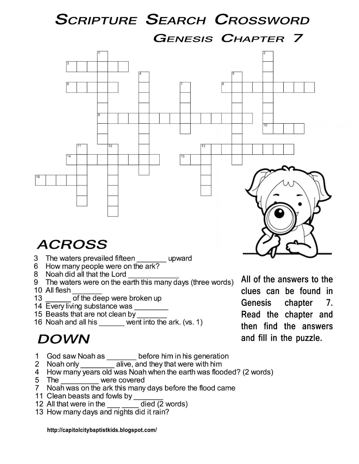Ccbc Kids Corner: Scripture Search Crossword #2 - February Crossword Puzzle Printable