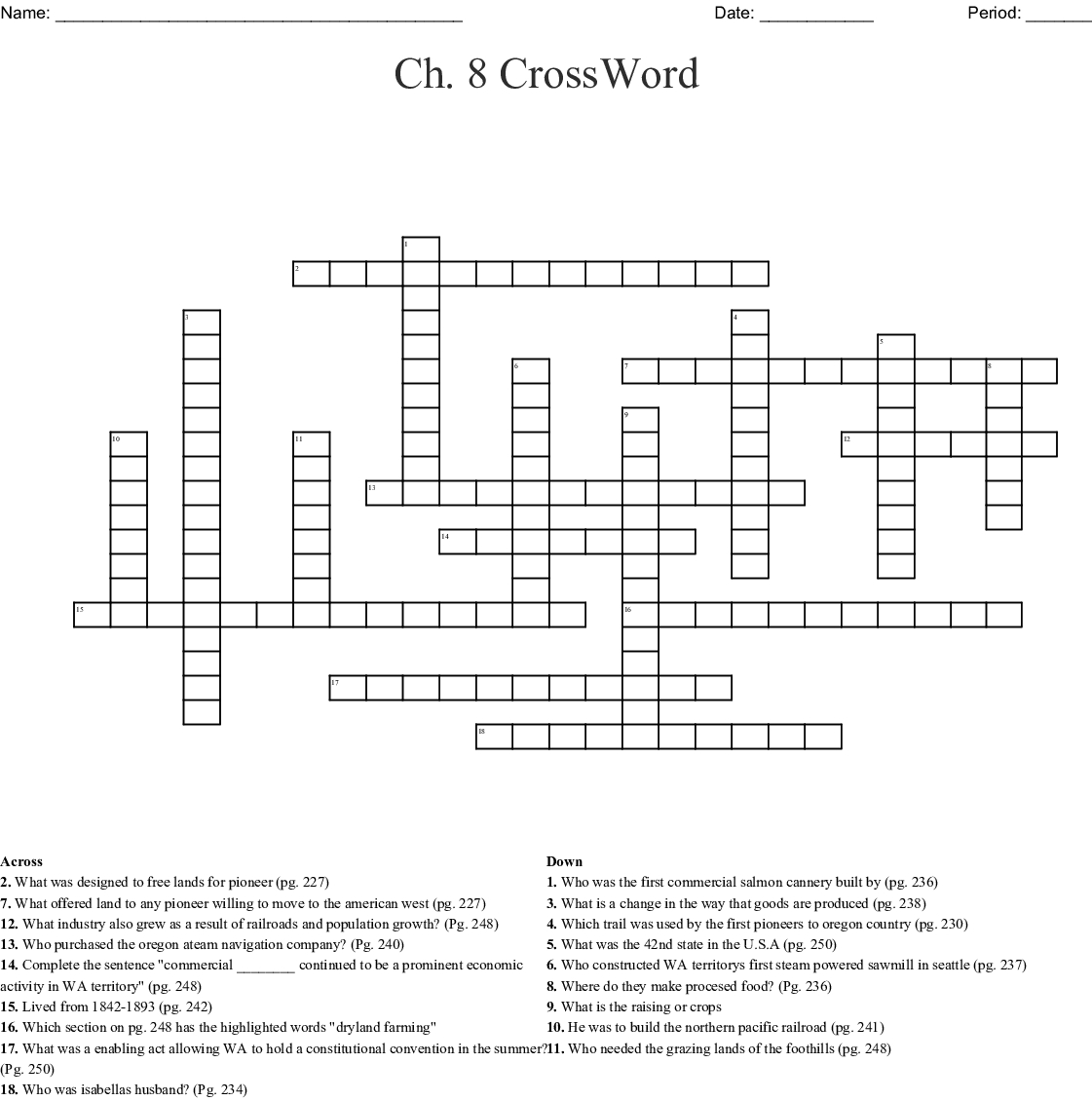 Ch. 8 Crossword – Wordmint Within Chapter 8 Crossword Puzzle Us - History Crossword Puzzles Printable