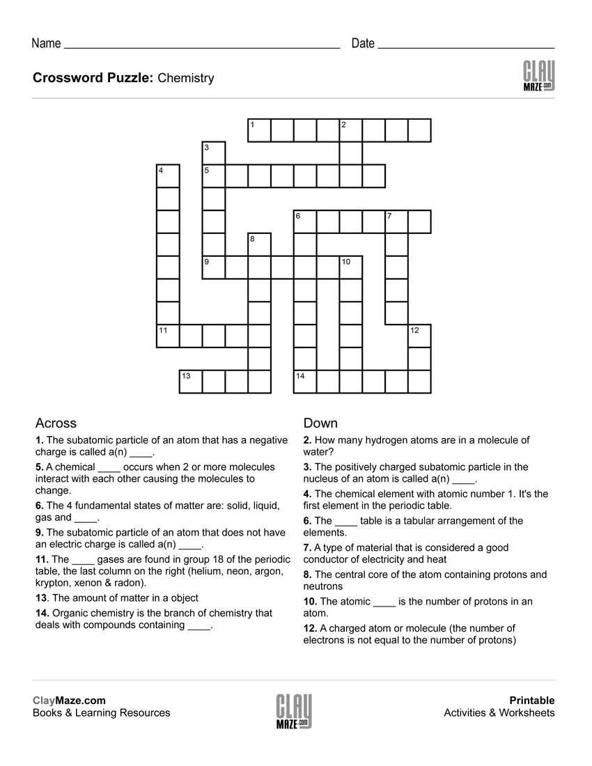 Chemistry Themed Crossword Puzzle | Free Printable Children's - Free - Free Printable Themed Crossword Puzzles