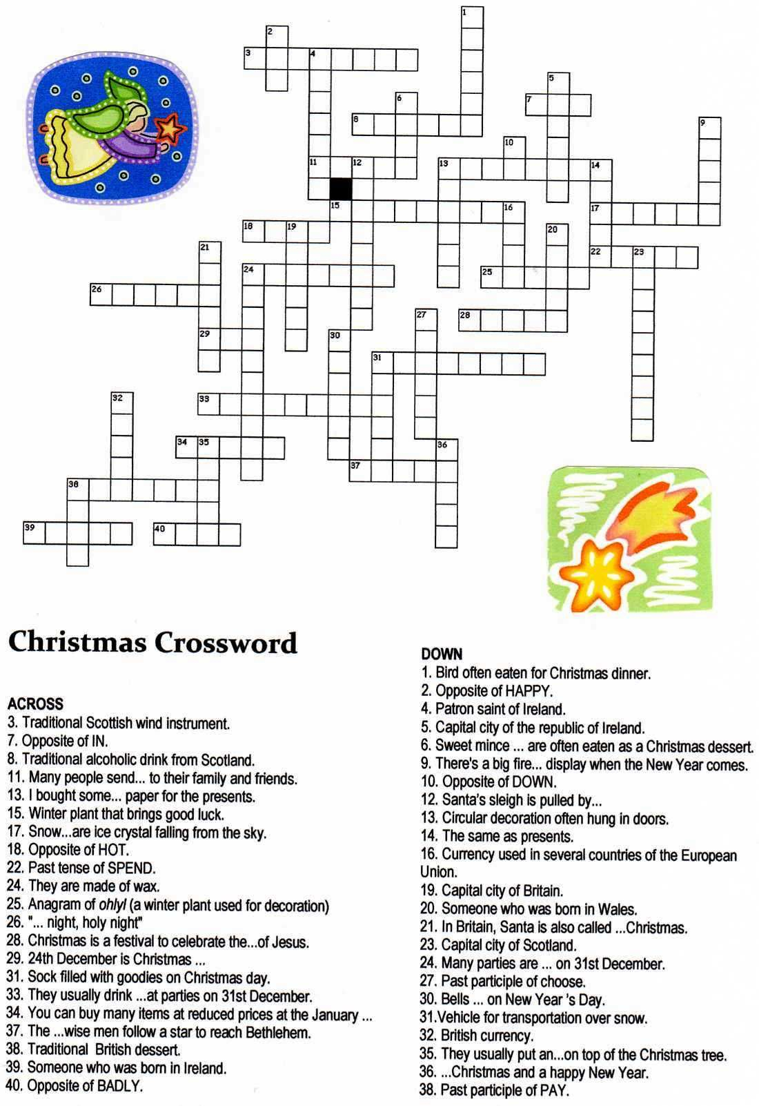 Christmas Angel Crossword Puzzle | Christmas | Christmas Crossword - Christmas Crossword Puzzle Printable With Answers