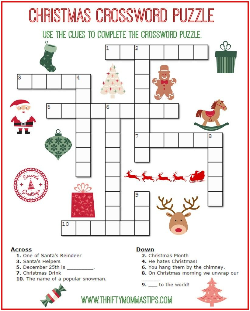 Christmas Crossword Puzzle Printable - Thrifty Momma's Tips | Free - Printable Holiday Puzzles For Adults