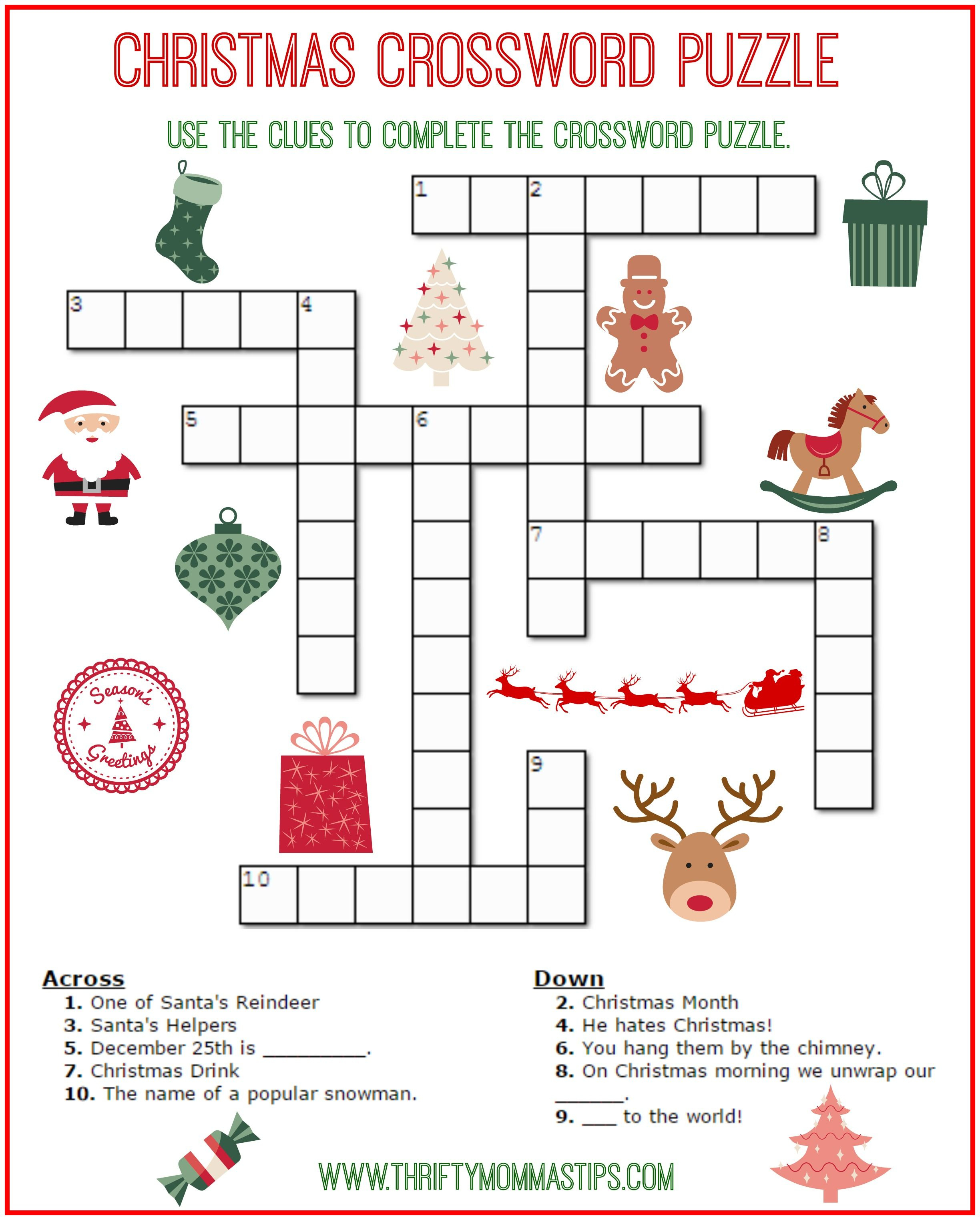 Christmas Crossword Puzzle Printable Thrifty Mommas Tips Uirq7Lrq - Printable Christmas Crossword Puzzles With Answers
