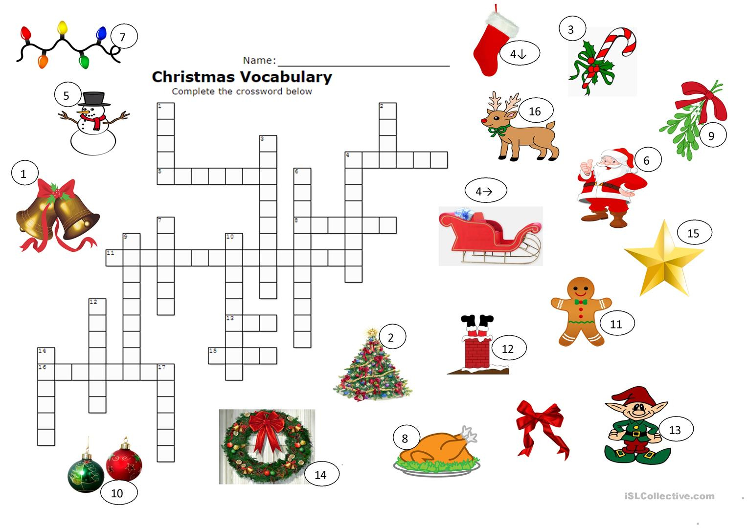 Christmas Crossword Worksheet - Free Esl Printable Worksheets Made - Free Printable Xmas Crossword
