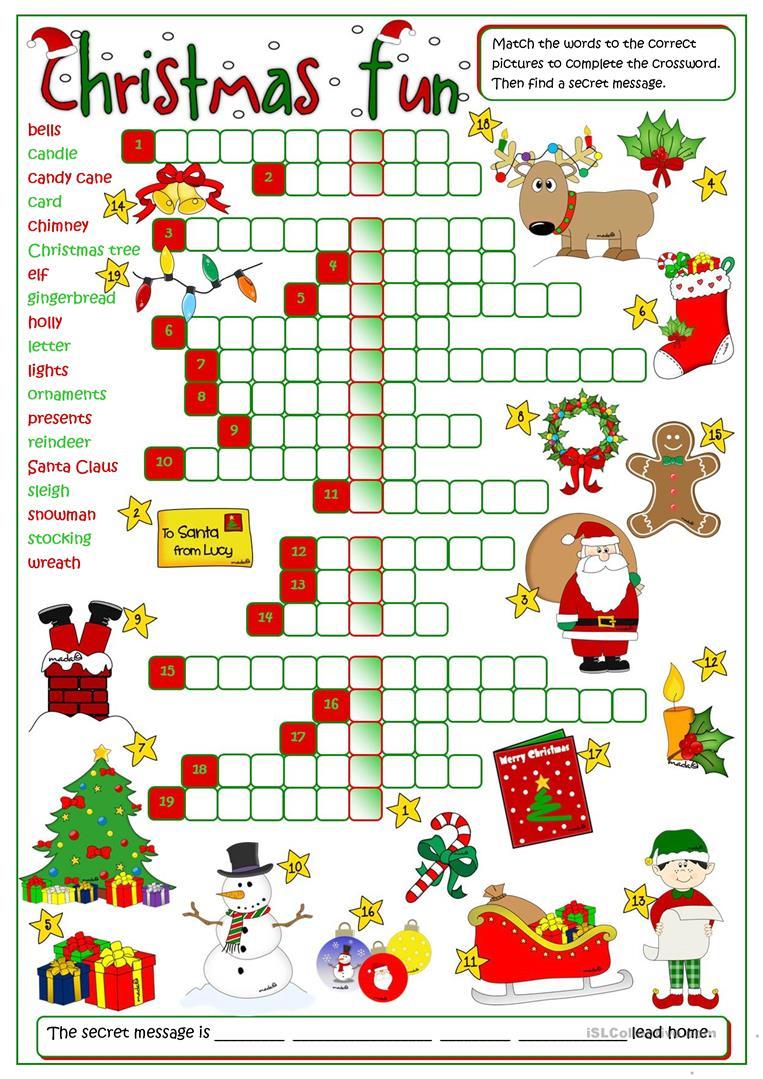Christmas Fun - Crossword Worksheet - Free Esl Printable Worksheets - Printable Crossword Christmas