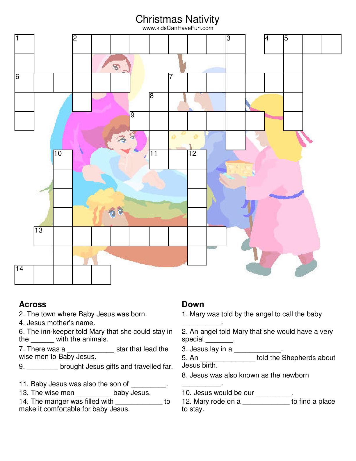 Christmas Nativity Crossword | Christmas-Nativity | Christmas - Printable Nativity Puzzle