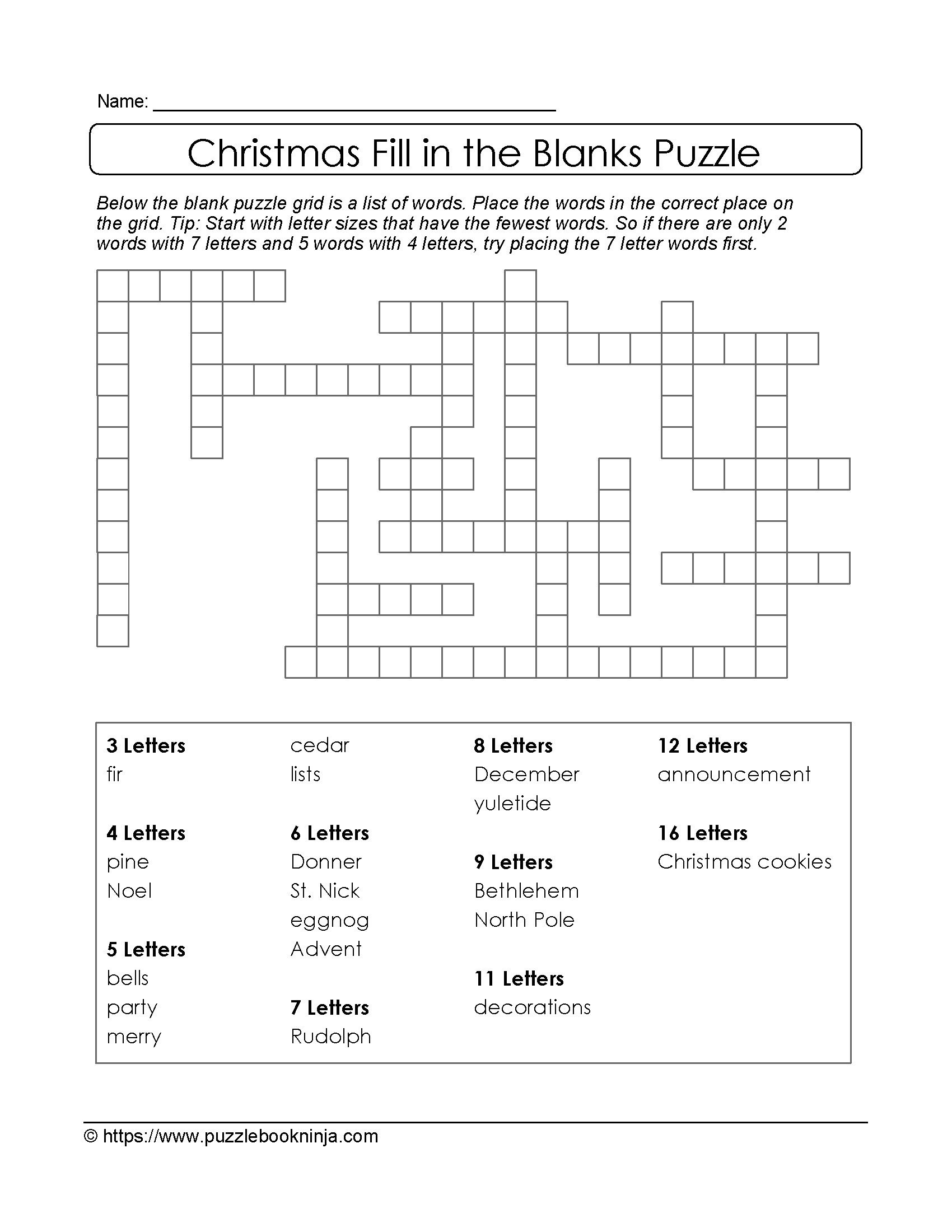 Christmas Printable Puzzle. Free Fill In The Blanks. | Christmas - Printable Christmas Crossword Puzzles For Adults With Answers