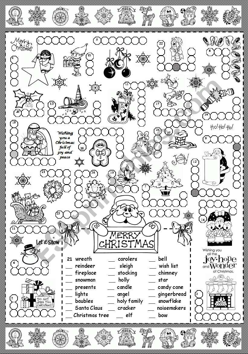 Christmas Puzzle - Esl Worksheetsilvanija - Printable Puzzle Christmas