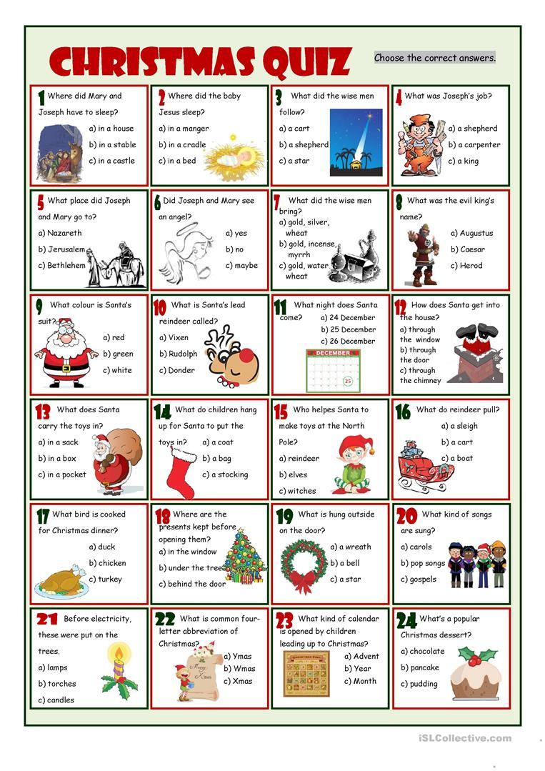 Christmas Quiz Worksheet - Free Esl Printable Worksheets Made - Printable Christmas Puzzles And Quizzes
