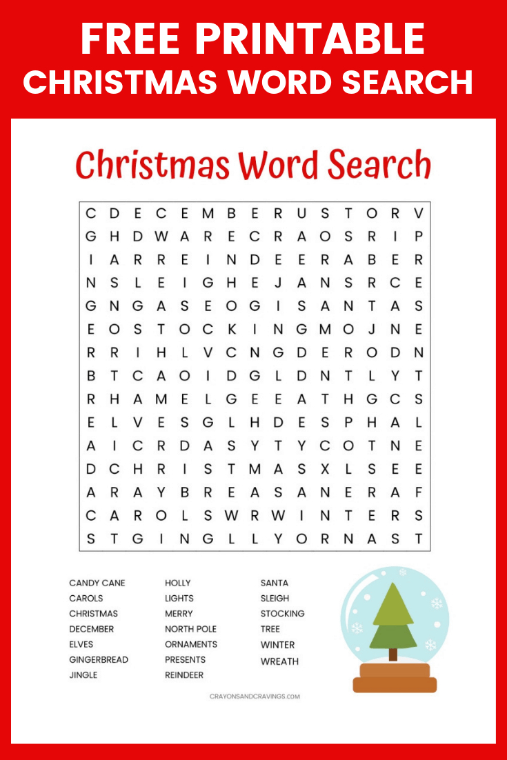 Christmas Word Search Free Printable For Kids Or Adults - Free - Christmas Crossword Puzzle Printable