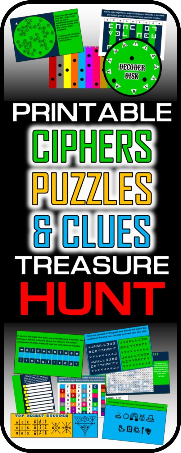 Ciphers, Puzzles, And Codes Treasure Hunt - Printable Decoder Puzzles