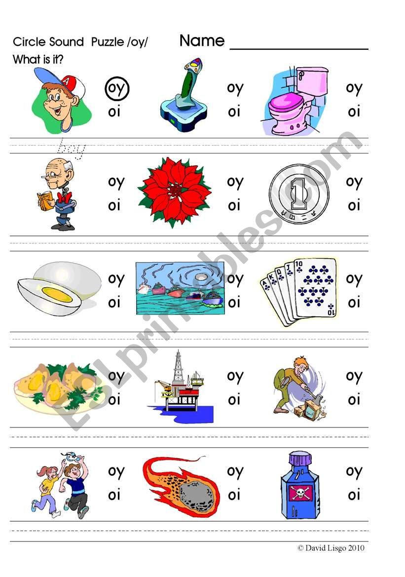 Circle Sound Puzzle 15: Phonics The /oy/ Sound - Esl Worksheet - Printable Phonics Puzzles