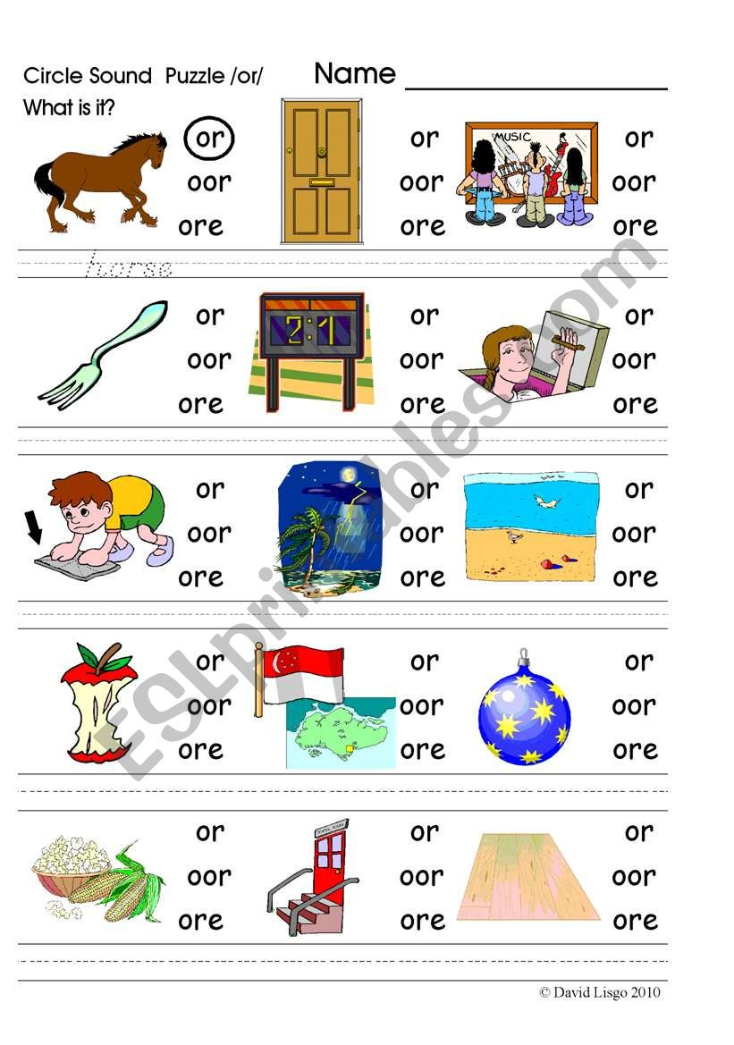 Circle Sound Puzzle 9: Phonics The /or/ Sound - Esl Worksheet - Printable Phonics Puzzles