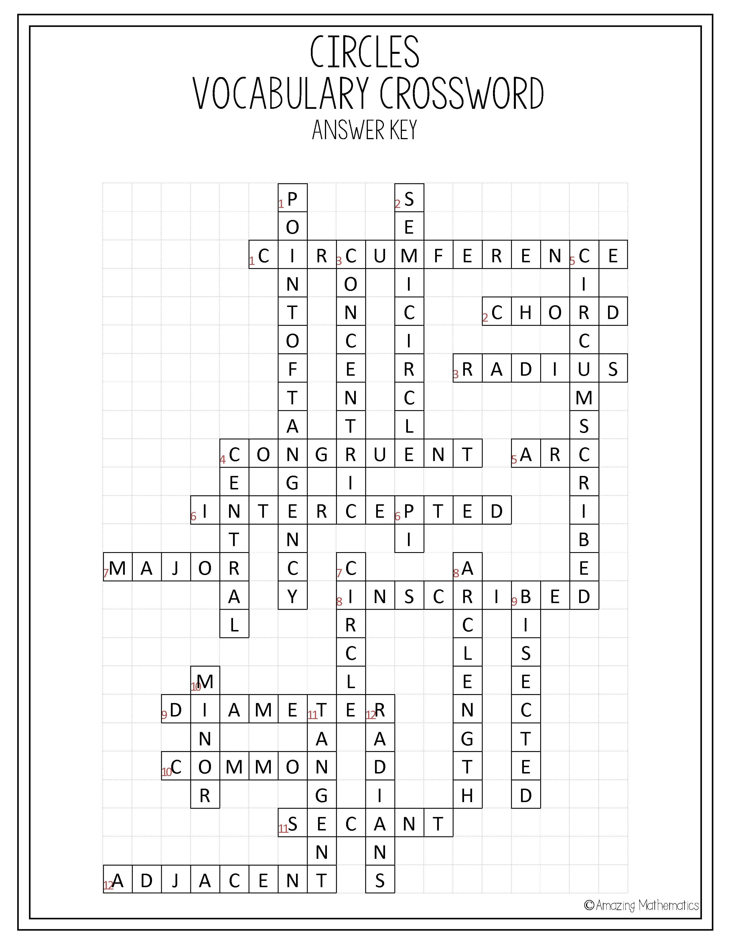 Circles Vocabulary Crossword | My Tpt Items | Geometry Worksheets - Printable English Crossword Puzzles With Answers Pdf