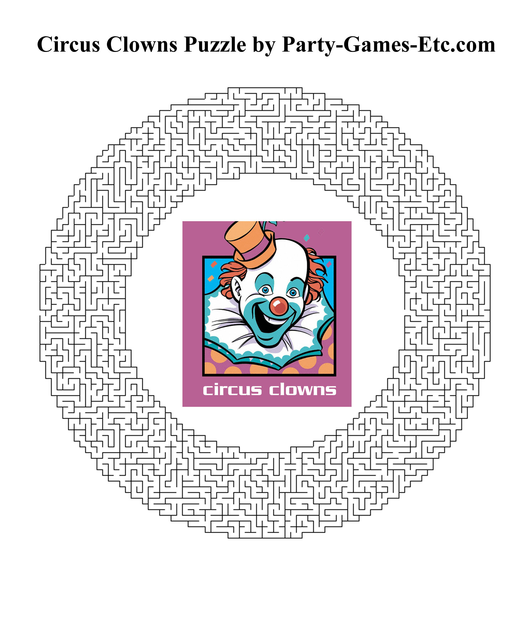 Circus Carnival Clowns Party Games, Free Printable Games And - Circus Crossword Puzzle Printables