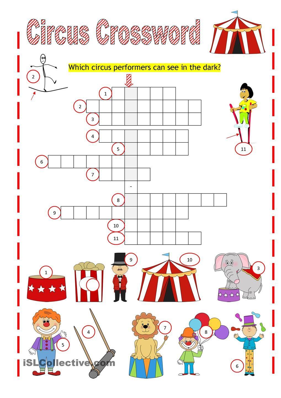 Circus Crossword   Work Sheets   Big Top Circus, Crossword, Worksheets - Circus Crossword Puzzle Printables