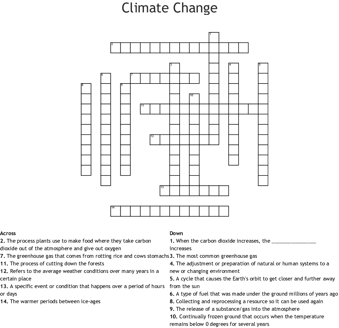 Climate Change Crossword - Wordmint - Global Warming Crossword Puzzle Printable