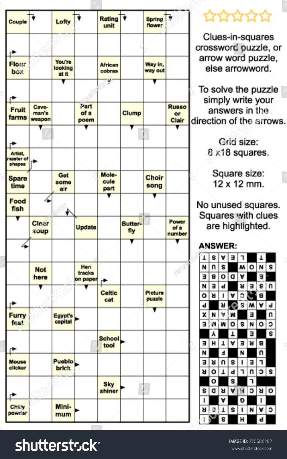 Clues-In-Squares Crossword Puzzle, Or… Stock Photo 270686282 - Printable Arrow Crossword Puzzles For Free