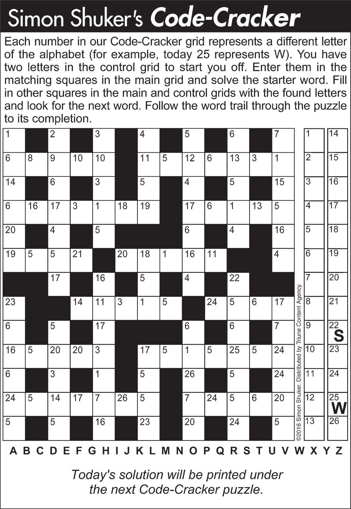 Code-Cracker Sample Puzzle 1 | Tribune Content Agency (May 9, 2017) - Printable Hitori Puzzles