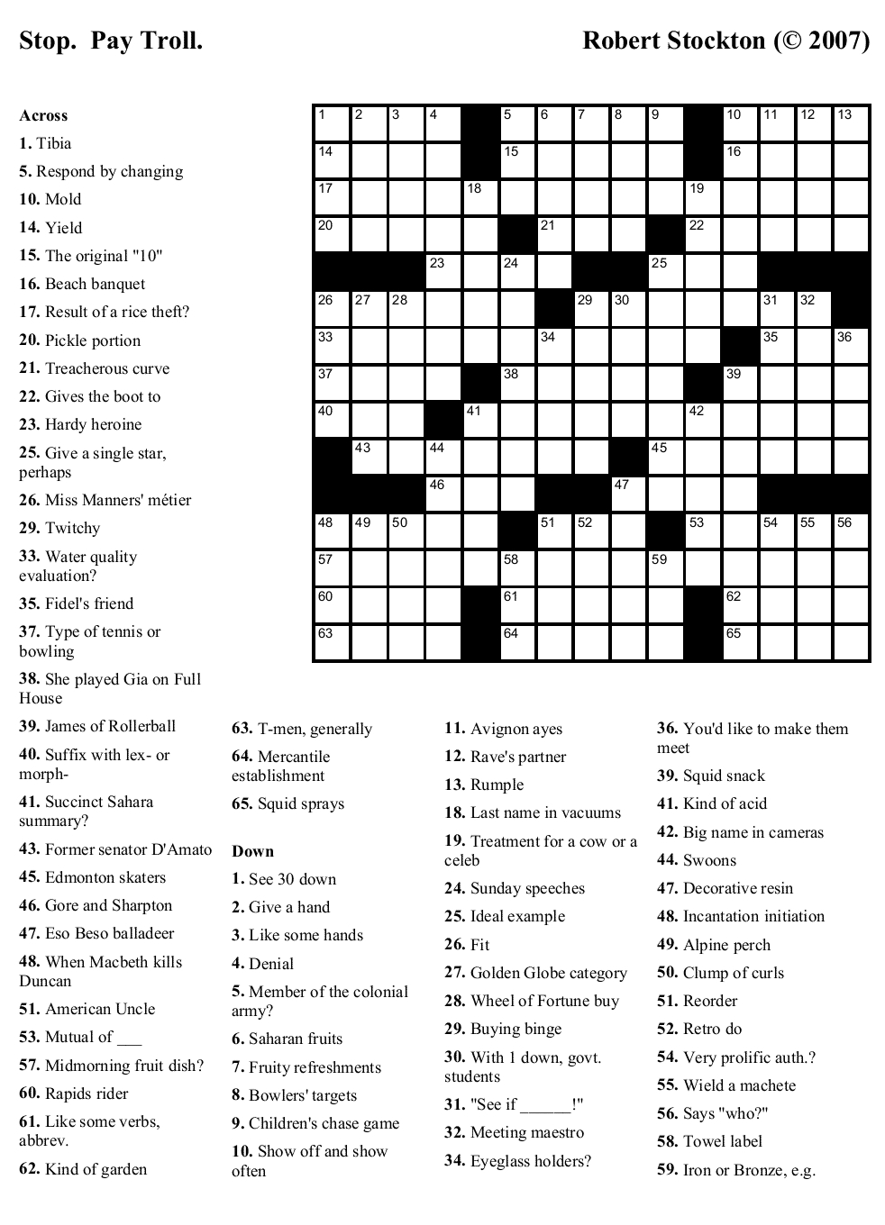 Collection Of Universal Crossword Puzzle Printable (23+ Images In - Printable Universal Crossword