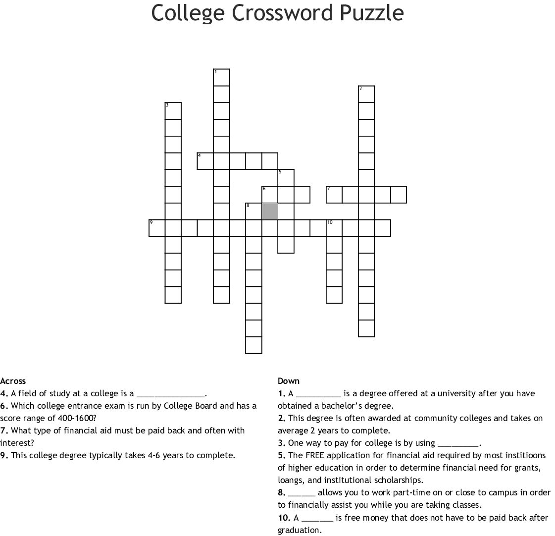 College Crossword Puzzle Crossword - Wordmint - College Crossword Puzzle Printable