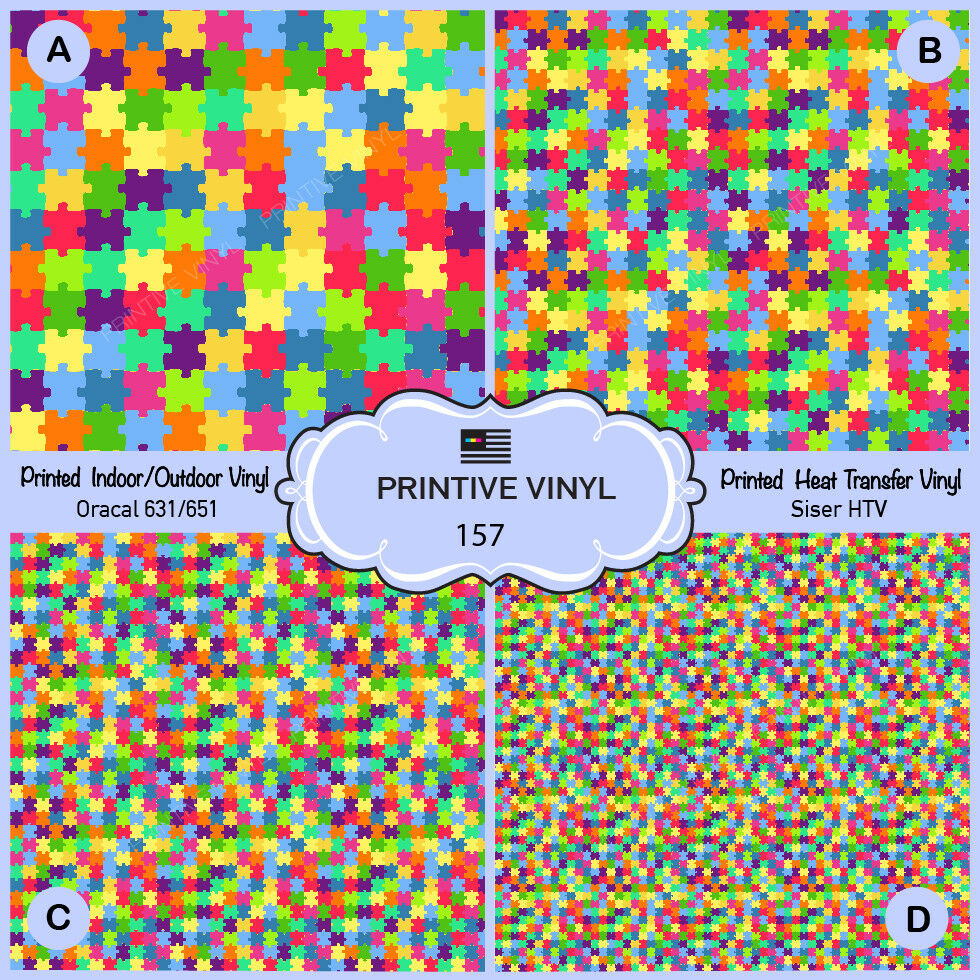 Colorful Puzzles Pattern Printed Htv,adhesive Vinyl-157 | Ebay - Puzzle Print Htv