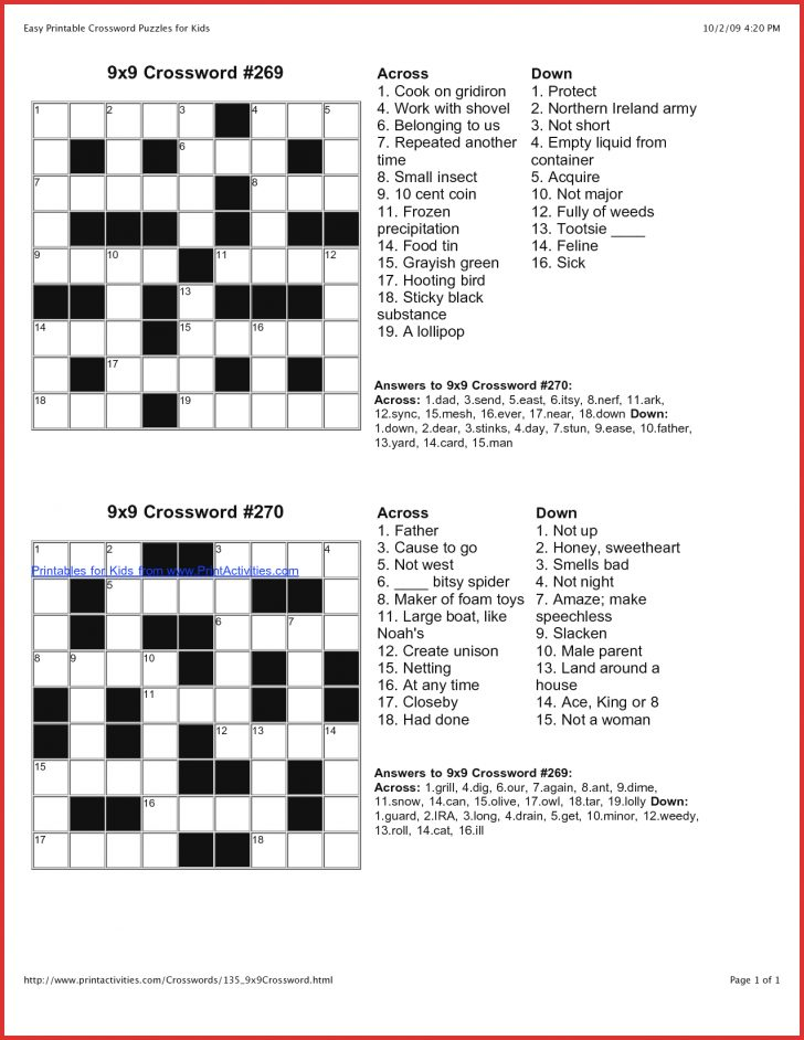 Free Printable Universal Crossword Puzzles