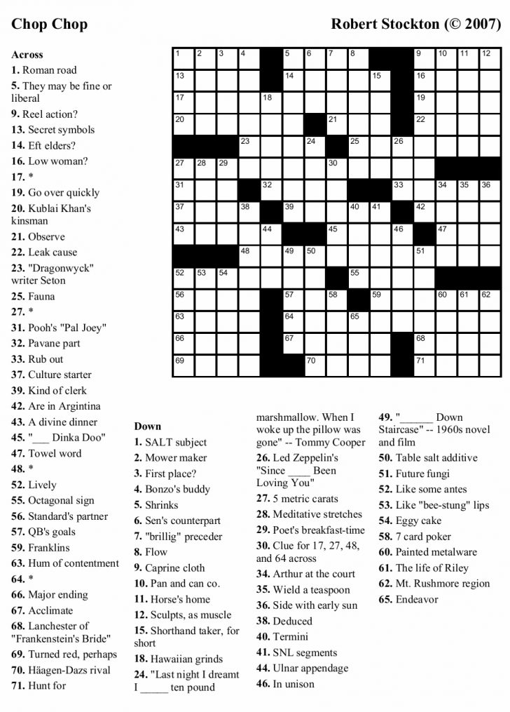Printable Crossword Puzzles Adults Easy