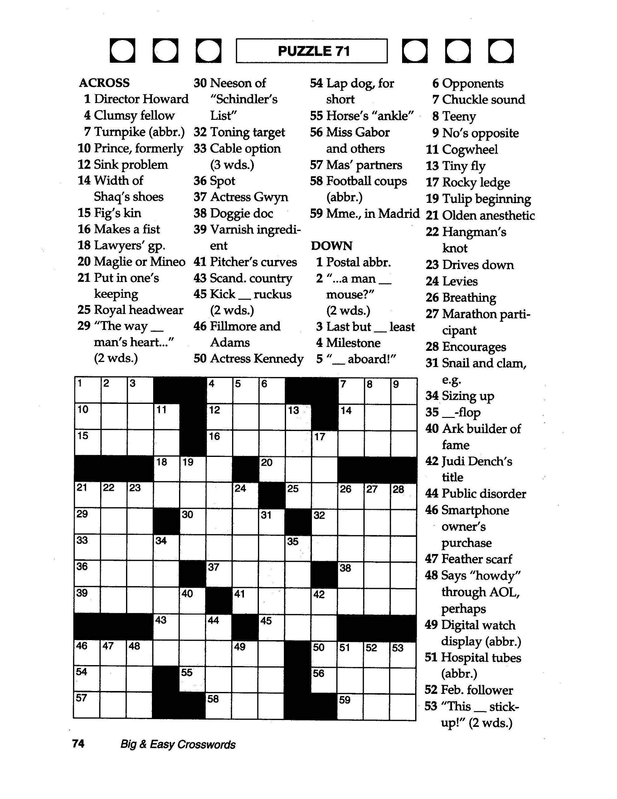 image regarding Printable Thomas Joseph Crossword Puzzle for Today named Coloring ~ Coloring Cost-free Massive Print Crosswords Basic For
