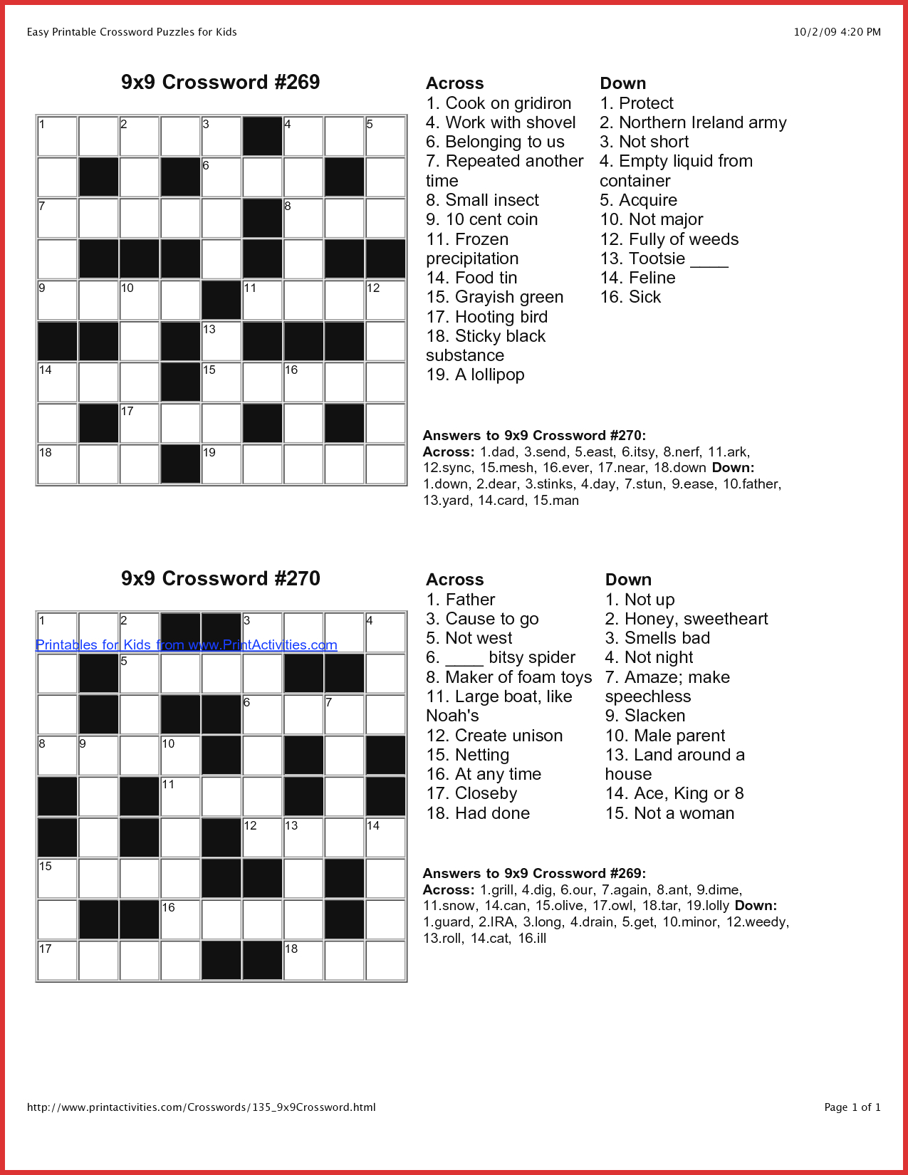 Coloring ~ Marvelous Large Print Crosswords Photo Ideas Free - Printable Crosswords For 9 Year Olds