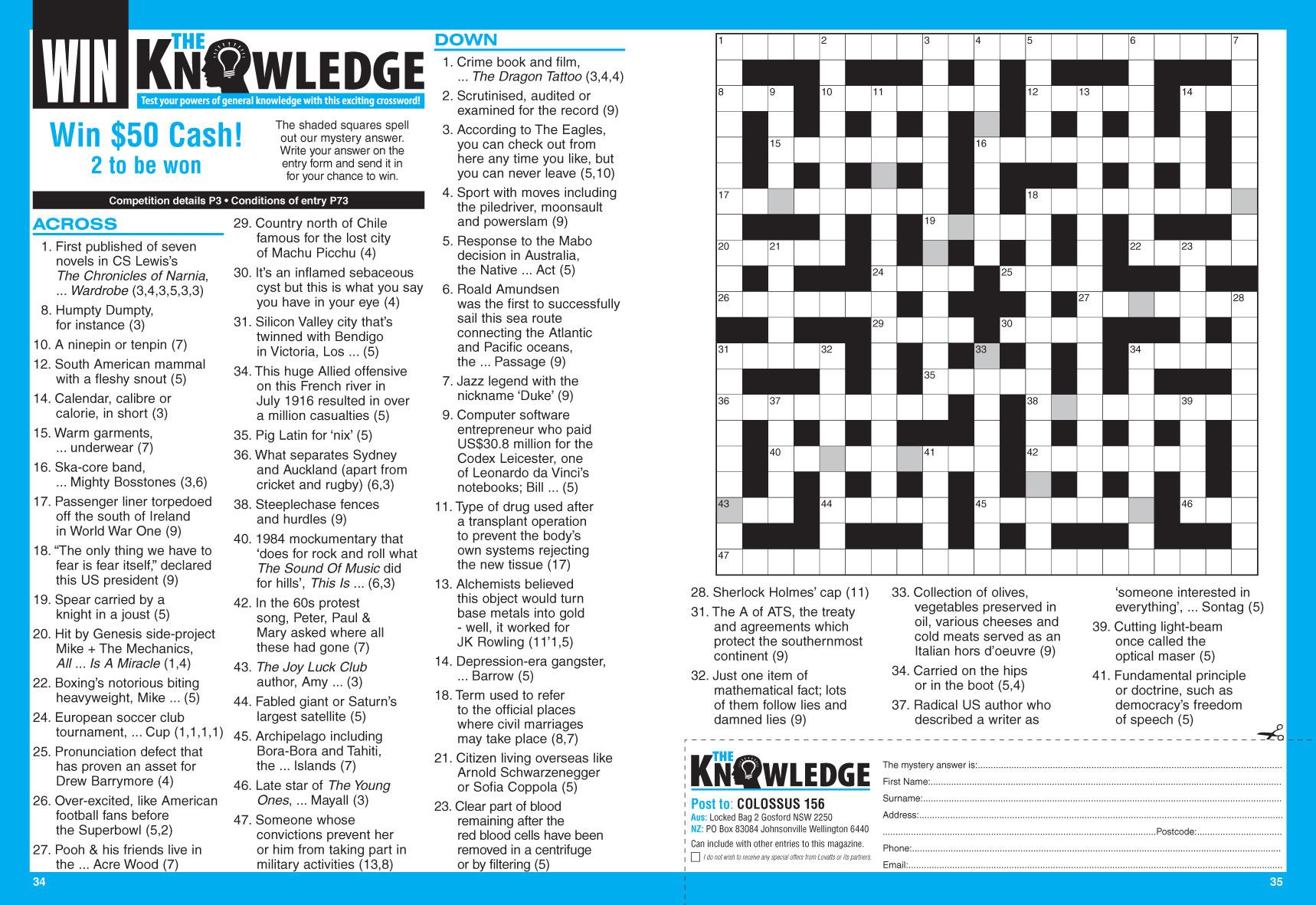 Colossus Crosswords Magazine - Lovatts Crossword Puzzles Games & Trivia - Printable Lovatts Crosswords